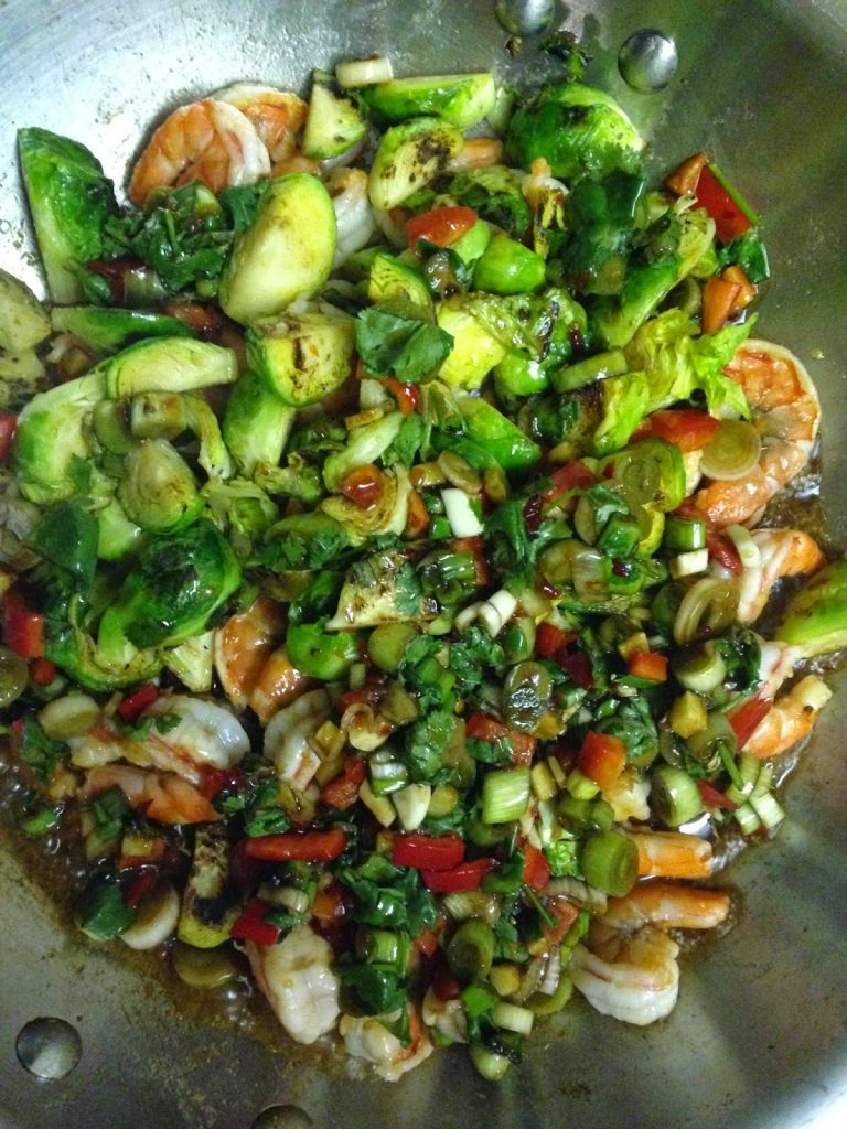 Sweet Chili Garlic Shrimp and Crispy Brussel Sprout Stir ...