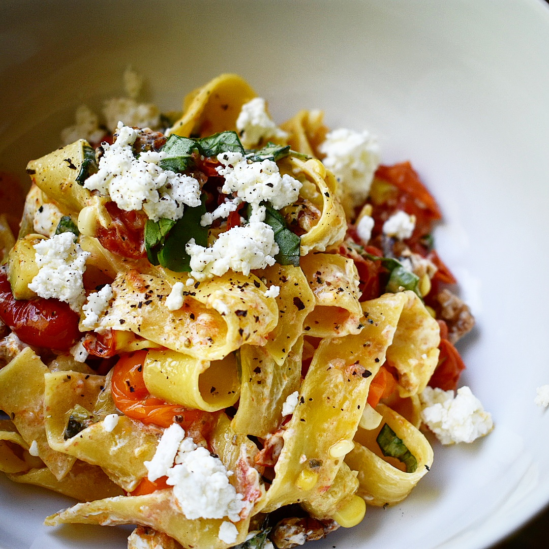 ... Pasta with Roasted Summer Vegetables and Goat Cheese • Chef Jen